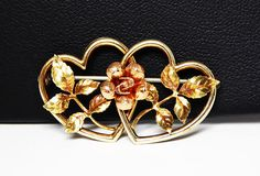 New Listings Daily - Follow Us for UpDates -  Gold Filled Flower Brooch Signed Krementz - Two Tone Gold Rose Pin, Yellow Gold Hearts & Leaves, Rose Gold Flower, #Vintage 1950 Gift for Her offered by #TheJewelSeeker on Et... #vintage #jewelry #teamlove #etsyretwt #ecochic #thejewelseeker