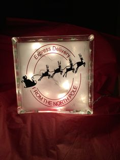 Christmas Express Delivery Glass Block with lights