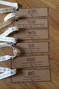 Groom Survival Kit Tags. These gift tags are the perfect accompaniment to the presents you will give your groom on the morning of your wedding.   Each tag is personalised with a love heart of your initials. 40p per tag (plus p&p). Minimum order of 6 per order. There is other ribbon colours and card options available to match the theme of your wedding.