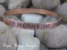 Copper Bangle - She Believed She Could So She Did