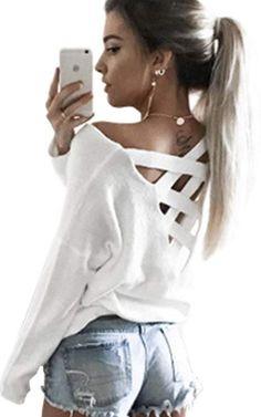 Ecowish V Ausschnitt Oberteile Damen Kreuz Langarmshirts Tops Hemd Shirt -  Weiß - EU L 15c30268e5