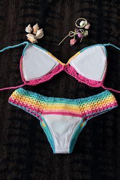 Hand knit Brazilian Bikinis Rainbow