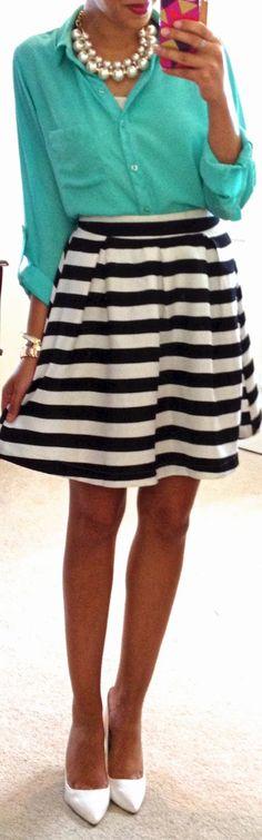 mint blouse + striped skirt.