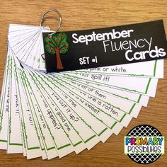 Fluency cards for September... students practice reading fluency cards to increase speed and fluency