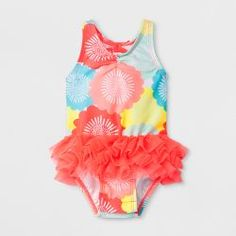 2a485e6001e26 Baby Girls' Ruffle Floral One Piece Swimsuit - Cat & Jack™ Pink : Target