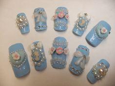 Sweet Lolita Light Pastel Blue Victorian Cameo Nails with bows & hearts acrylic art full false/fake Japanese 3D nail gothic aristocrat.  via Etsy.
