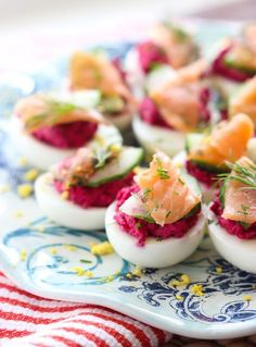 Deviled Eggs filled with the tastiest filling ever! Just check the ingredients. --- made on and those who tried it enjoyed it as something different. I wouldn't say this was a huge hit. I would consider making again. Sriracha Deviled Eggs, Avocado Deviled Eggs, Bacon Deviled Eggs, Deviled Eggs Recipe, Egg Recipes, Appetizer Recipes, Salmon Recipes, Thanksgiving Deviled Eggs, Southern Deviled Eggs