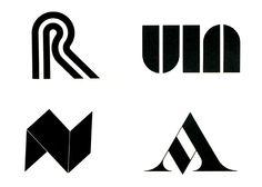 Bob Noorda, (clockwise from top left) logos for Rhodiatoce, 1969; Università Internazionale dell'Arte, 1968; Arnoldo Mondadori, 1969; Nuratex, 1965.