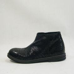 Rundholz Mainline - Black Leather Embossed printed Zip Boot - Crocodile 1485212 winter 2014
