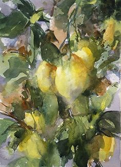 Lemon Tree,very pretty-Tuscany by Sarah Yeoman Watercolor ~ 16 x 12