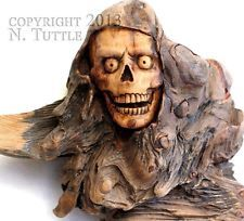ORIGINAL WOOD SPIRIT CARVING SKULL GRIM REAPER SCYTHE SKELETON OOAK NANCY TUTTLE