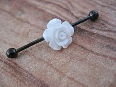 Industrial Barbell Piercing White Black Rose by Azeetadesigns