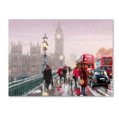Trademark Fine Art 'Westminster Bridge' Canvas Art by The Macneil Studio, Size: 35 x Red Artist Canvas, Oil Painting On Canvas, Canvas Art Prints, Framed Canvas, Framed Prints, Diy Painting, Westminster Bridge, Creation Photo, Paint By Number Kits