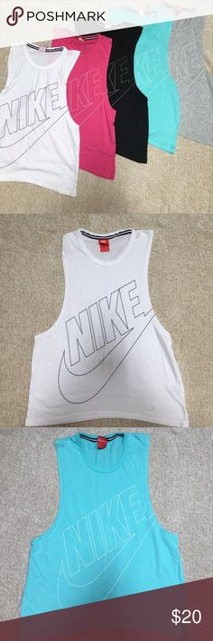 Nike Sleeveless Muscle Love Tank FINAL PRICE CUT ✂️ Nike Sleeveless Muscle Love tanks. BLACK AND WHITE ARE SOLD. Other three still available. All are nearly new. All are size XS. Priced individually, but would consider a deal for all of them. Nike Tops Muscle Tees