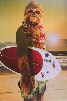 Hang Loose with this gnarly poster of Star Wars Wookie Chewbacca on vacation in Hawaii - Surf's Up! Fully licensed - 2012. Ships fast. 24x36 inches. Be a good Jedi and check out the rest of our amazin