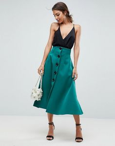 ASOS Scuba Midaxi Prom Skirt with Button Detail