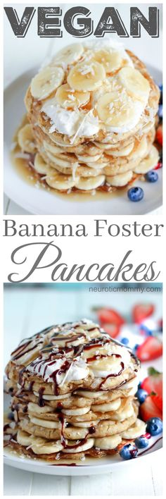 Vegan Banana Foster Pancakes - Wake up Easter morning to a delicious stack loaded with goodness. http://NeuroticMommy.com #vegan #easter #breakfast