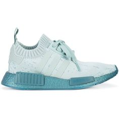 Adidas NMD_R1 Primeknit sneakers ($136) ❤ liked on Polyvore featuring shoes, sneakers, green, round toe sneakers, rubber sole sneakers, slip-on shoes, lace up shoes and sport shoes