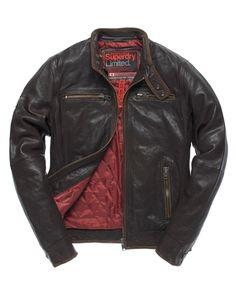 Superdry Super Scrambler Leather Jacket in Diablo Brown