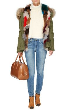 Army Patch Fox Fur Lined Mini Parka  by MR & MRS ITALY Now Available on Moda Operandi