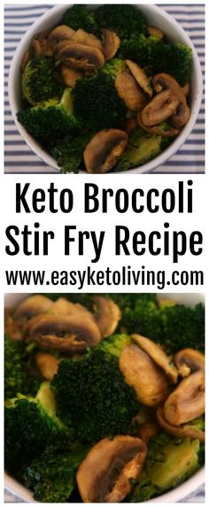 Keto Broccoli Stir Fry Recipe with Turmeric and Mushrooms - an easy low carb and Ketogenic Diet friendly vegetarian stir fry. You'll love this simple vegetarian dish which is great as a side dish or a whole meal.