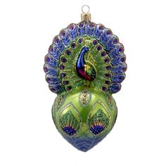 David Strand Kurt Adler Glass Proud Peacock Ornament, 6.5-Inch ** Continue to the product at the image link. (This is an affiliate link) #HomeDecoration