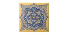 Shop Arabic Tile Yellow Middle Eastern Blue Gold Design created by yourworldheritage. Art Deco Bathroom, Goldwork, Fireplace Surrounds, Blue Gold, Kitchen Island, Home Goods, Tiles, House Ideas, Middle