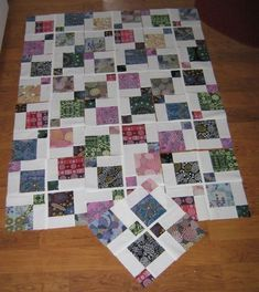 Disappearing nine patch quilt with spacers (sashing).