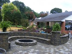 patio fireplaces and fire pits | Wayne's Landscaping: Block Patio, Fire Pit and Fireplace