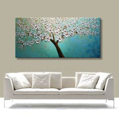 Original Modern Palette Knife Oil Tree Painting Impasto by Nizamas, $358.00