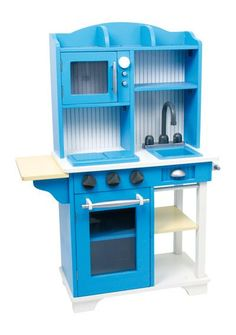 """Legler """"Blue"""" Kitchen and Food Toy Childrens Kitchens, Cardboard Toys, Miniature Rooms, Little Kitchen, Herd, Baby Play, Wood Toys, Interior Design Living Room, Kids Playing"""