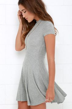 Endless Entertainment Grey Short Sleeve Skater Dress at Lulus.com!