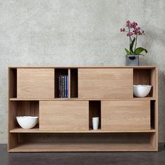 Ethnicraft Oak Nordic 4 Door Low Rack   Ethnicraft Oak Nordic Bookcase - Volume Furniture