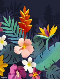 Ideas For Tropical Flower Art Floral Design Cardboard Box Crafts, Easy Paper Crafts, Arts And Crafts, Diy Crafts, Tropical Leaves, Tropical Flowers, Nashville Art, Paper Quilling Designs, Art Background