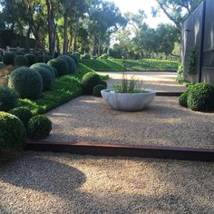low water bowl surrounded with gravel and lower lush planting for outside master bedroom window