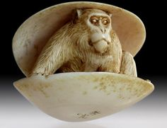 Monkey in Clam Netsuke - 19th Century Ivory, Japanese