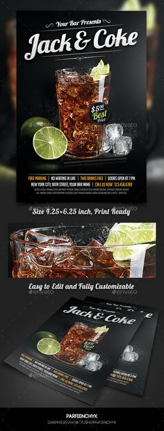 Buy Whiskey and Coke Cocktail Flyer Template by Parfienchyk on GraphicRiver. Whiskey and Coke Cocktail Flyer Template Description: PSD File inches pixels) Print Ready (CMY. Coffee Menu, Coffee Poster, Food Menu Design, Flyer Design, Food Advertising, Advertising Poster, Menu Layout, Cocktail Menu, Drink Menu