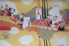 Moomin fabric Mama with berries yellow background by tillukka, $12.00