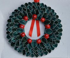 Christmas wreath made with Nespresso capsule