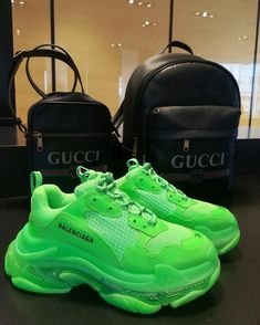 balenciaga shoe sneakers triple s clear sole neon green Neon Shoes, Neon Sneakers, Cute Sneakers, Lit Shoes, Hype Shoes, Sneakers Fashion, Fashion Shoes, Fashion Fashion, Fashion 2020
