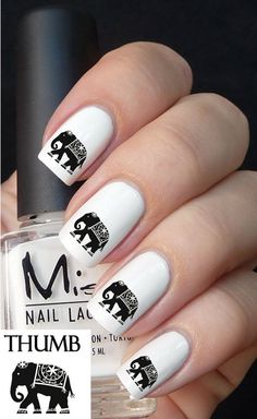 Indian Elephant Nail decal by DesignerNails on Etsy, $3.95