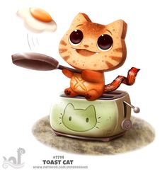 Daily Painting 1714# Toast Cat by Cryptid-Creations.deviantart.com on @DeviantArt