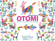 Mexican Watercolor Floral clipart, Otomi, PNG, mexican party, flowers, folk clip art, hand painted, cinco de mayo, alebrijes, colorful