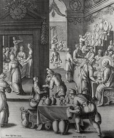 Phillip Medhurst presents John's Gospel: Bowyer Bible print 5288 Christ turns water into wine John 2:1-10 Passeri on Flickr. A print from the Bowyer Bible, a grangerised copy of Macklin's Bible in Bolton Museum and Archives, England.