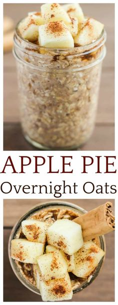 If you love apple cinnamon oatmeal, you will love these Apple Pie Overnight Oats. - If you love apple cinnamon oatmeal, you will love these Apple Pie Overnight Oats! They are a quick - Easy Brunch Recipes, Gourmet Recipes, Healthy Recipes, Healthy Food, Diet Recipes, Healthy Steak, Healthy Brunch, Nutritious Breakfast, Healthy Cooking