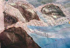 elements in fabric- melted painted cellophane for sea foam