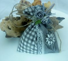 French Cotton Grey Gingham and floral Organic by Krishenka on Etsy, €6.00