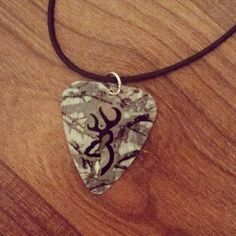 Realtree Camo with black deer head buckmark symbol guitar pick necklace for country girl or boy by Featherpick