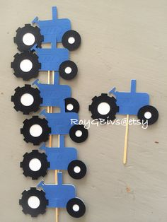 #Tractor cupcake toppers New holland style #birthday #partydecor #babyshower