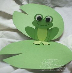 Lily pad and pop up frog card uses the following punches - •Extra Large Oval Punch (main body mechanism)  •Large Oval Punch (head, legs, stomach accent color)  •Modern Label Punch (feet) •3/4 inch circle punch (eyelids)  •1/2 inch circle punch (white of eyes) •Itty Bitty Punch Pack--circle (pupils)  •Blossom Punch (lilypad bloom) •1.25 inch Scallop Circle Punch (center of bloom)